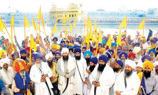 Baba Baljeet Singh Daduwal and others after performing ardas at Akal Takht Sahib