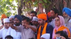 Arvind Kejriwal with Bhagwant Mann and Prof. Baljinder Kaur [File Photo]