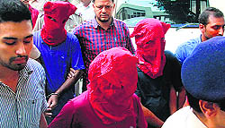 The arrested persons being produced in a Jalandhar court on August 05