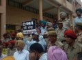 A view of protest outside DC office in Ludhiana