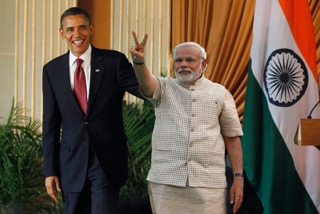 Barack Obama (L) and Narendra Modi (R)