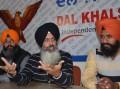 Dal Khalsa spokesperson Kanwar Pal Singh (C) and others