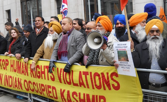 Sikh and Kashmiri activists hold protest on 26 January outside Indian High Commission in London