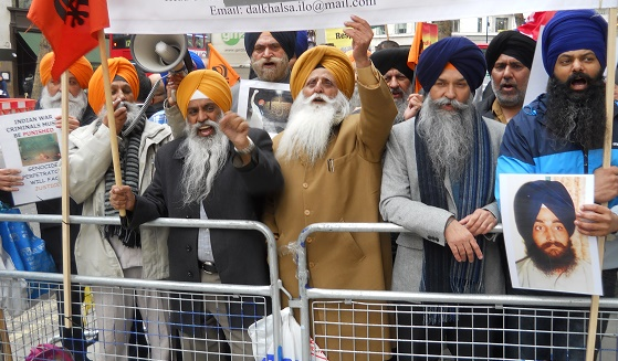 Sikh and Kashmiri activists hold protest in London