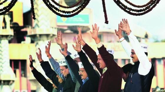Aam Aadmi Party leaders at Ramlilla Maidan [File Photo]