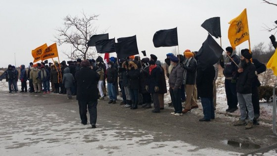 Sikhs protest during India's republic day celebrations in Brampton