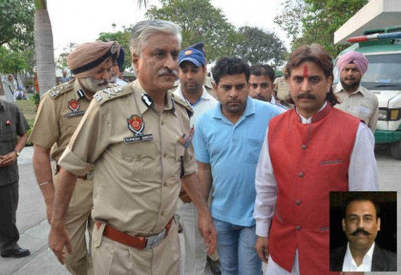 Punjab DGP Sumedh Singh Saini comes out of a hospital in Amritsar where Shiv Sena leader Harvinder Soni (inset) is being treated | Photo Courtesy: The Tribune/ RK Soni