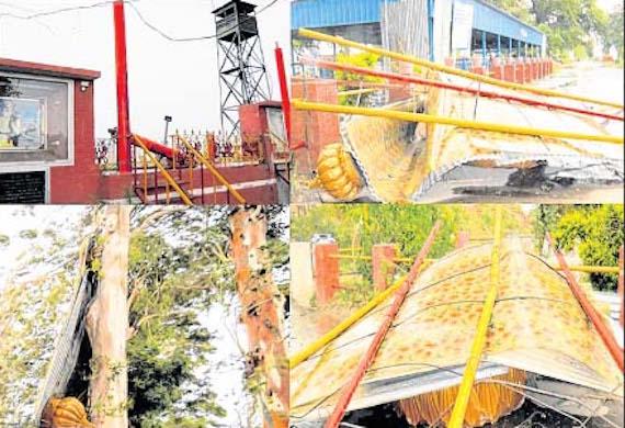Darshan Sthal at Dera Baba Nanak damaged by wind-storm