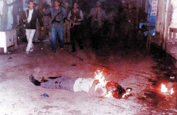 Sikhs were burnt alive during November 1984 genocide | Photo Source: Book - When a Tree Shook Delhi, author: H S Phoolka