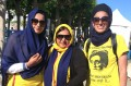 Mandeep Kaur, Indira Prahst and another participant at June 1984 commemoration rally in San Francisco, California.