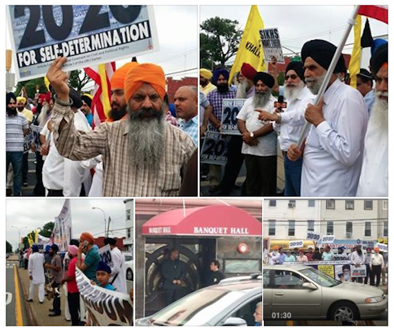 Sikhs protest against SAD (Badal) delegation in USA