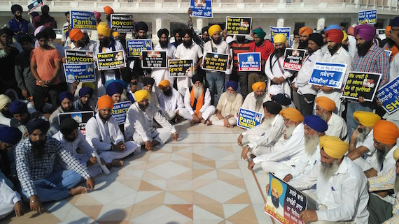 Dal Khalsa and Panch Pardhani activists stage symbolic sit in protest
