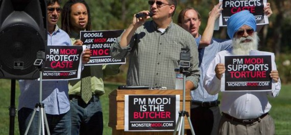 Demonstrators hold out protest against Google for inviting Modi