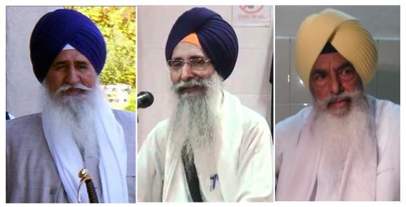 Giani Joginder Singh Vedanti (L), Giani Kewal Singh (C), Giani Balwant Singh Nandgarh (R)