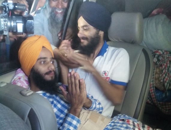 Rupinder Singh and Jaswinder Singh after being released from Faridkot jail