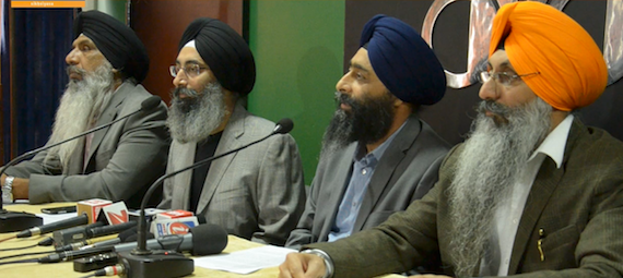 North American Sikh Delegates address a press conference at Chandigarh