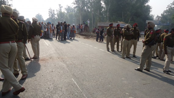 Police deployment at the spot of dharna