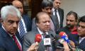 Nawaz Sharif addressing the media