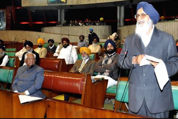 Punjab CM Parkash Sigh Badal addressing the Punjab State Assembly (called Vidhan Sabha) [File Photo]