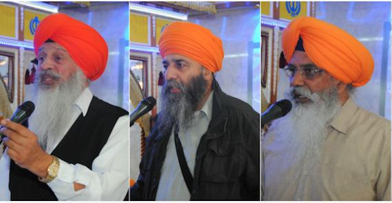 Bhai Amrik Singh Gill (L), Bhai Kuldeep Singh Chaheru (C) and Bhai Narinderjeet Singh (R) [File Photos] | Source: Sikh Federation UK