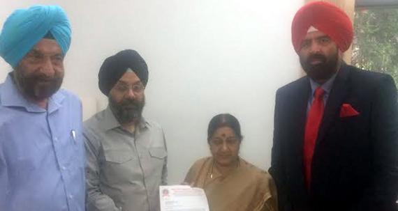 DSGMC tenders letter to MEA, Sushma Swaraj