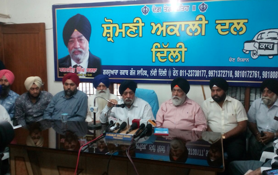 Parmjeet Singh Sarna addressing the press conference