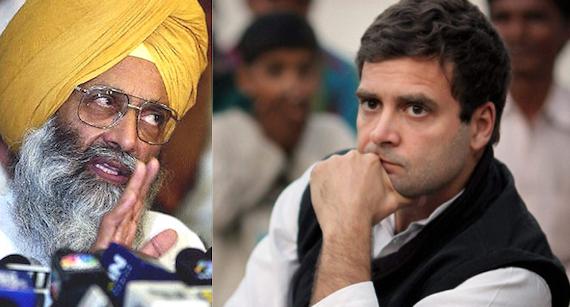 Sukhdev Dhindsa (L), Rahul Gandhi (R) [File Photos]
