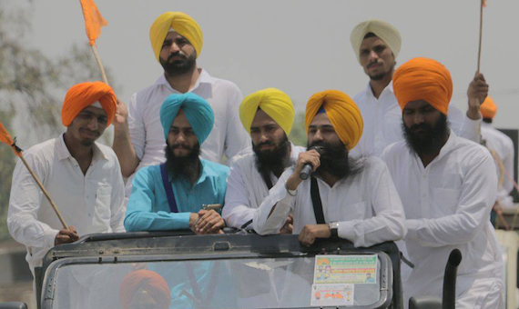 Youth Akali Dal Amritsar leaders addressing the participants of Dastar March