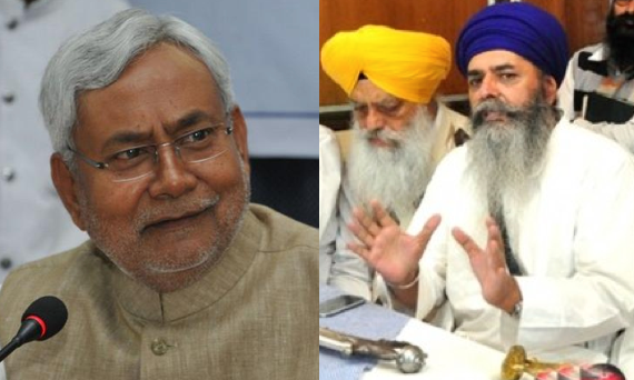 Nitish Kumar (L) Gurdeep Singh Bathinda (R-L) and Bhai Mohkam Singh (R-R) [FIle Photos]