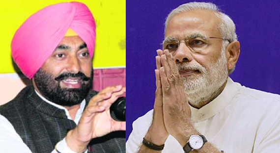 Sukhpal Khaira (L) Narendra Modi (R)