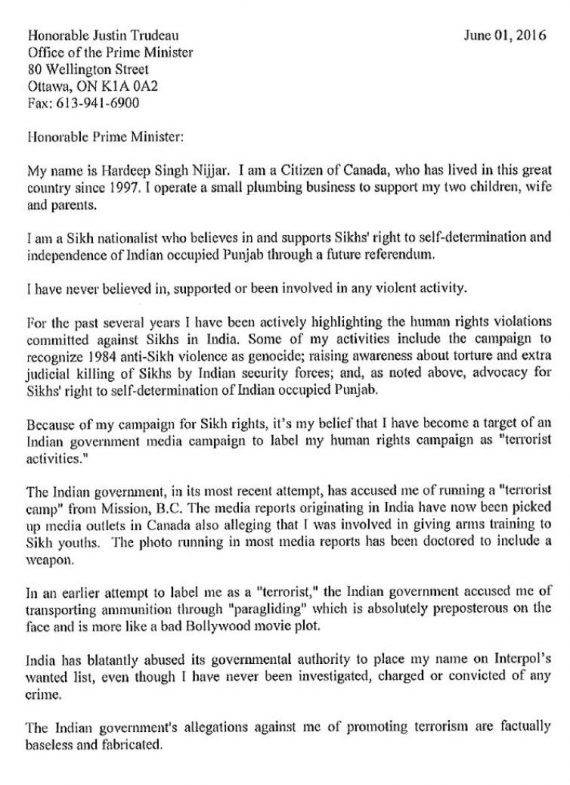 Hardeep Singh Nijjar's Letter to Canadain PM Justin Trudeau Page 1/2