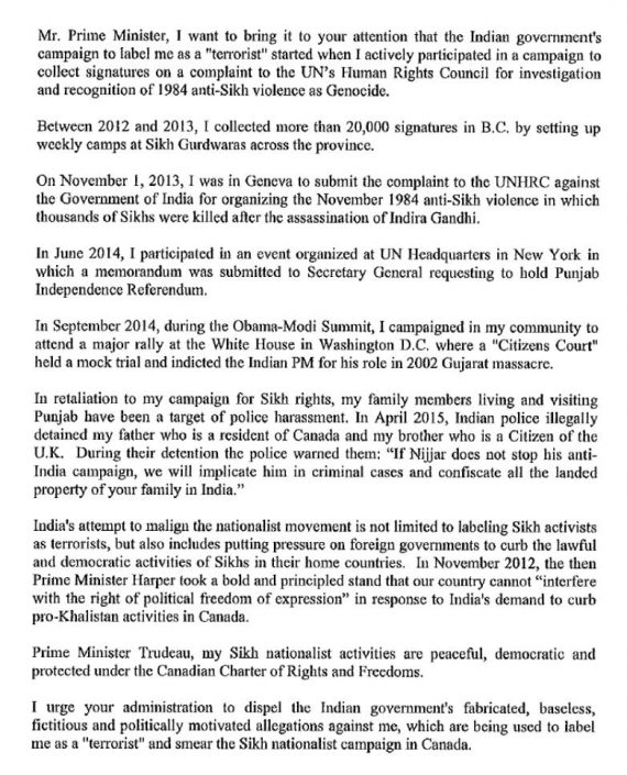 Hardeep Singh Nijjar's Letter to Canadain PM Justin Trudeau Page 2/2