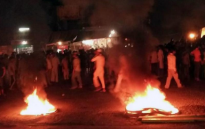 People burnt tires to block the national highway at Malerkotla | Credits: HT PHOTO