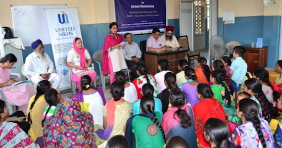 Women being trained in UNITED SIKHS' 40-day Skill Development Program