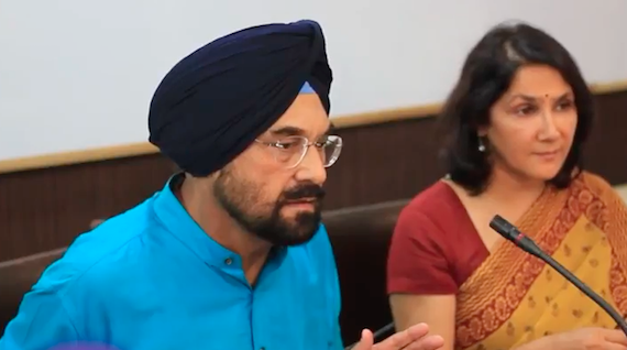 Kanwar Sandhu addressing mediapersons