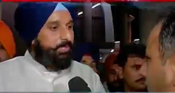 Bikram Majithia addressing media persons outside Punjab Assembly