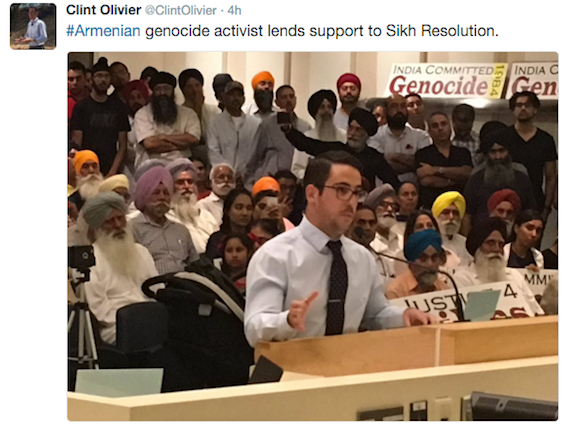 #Armenian genocide activist lends support to Sikh Resolution.
