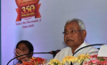 Bihar CM Nitish Kumar addressing media persons