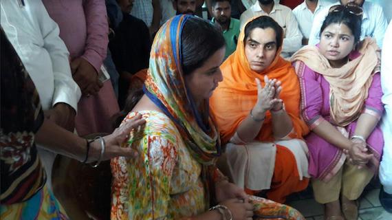 Prof. Baljinder Kaur with victim Ramanjeet Kaur at her village Kotla Mehar Singh Wala