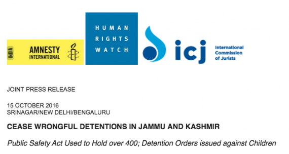 CEASE WRONGFUL DETENTIONS IN JAMMU AND KASHMIR