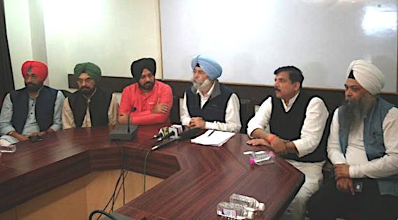 L to R: Sukhpal Khaira, Kanwar Sandhu, Gurpreet Ghuggi, H S Phoolka, Sanjay Singh and Jarnail Singh