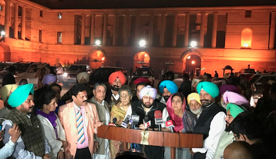 Capt. Amarinder Singh addressing media persons
