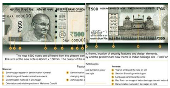 Image used for representational purpose only | Two Images of New Rs. 500/- note indicating identifications