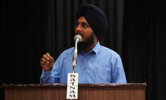 Parmjeet Singh addressing the gathering
