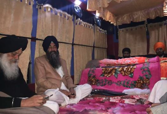 A view of Akhand Paath Sahib held inside a movable Palki Sahib at Talwandi Sabo