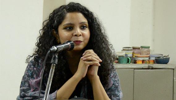 Rana Ayub delivering her speech.