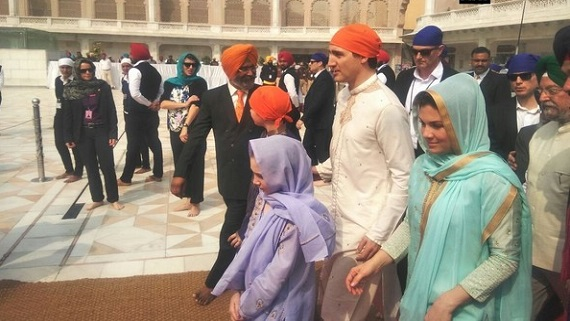 Canadian Prime Minister Justin Trudeau With his wife Sophie and Children at Darbar Sahib Complex