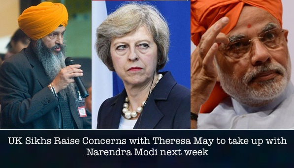 Sikh Federation UK leader Bhai Amrik Singh Gill (L), British Prime Minister Theresa May (C) and Indian Prime Minister Narendra Modi (R) [File Photos]