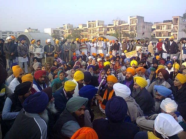 Sikhs staged protest outside Chandigarh Model Jail, Burrail