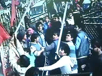 A CCTV image of the incident - AAP office beign vandalised